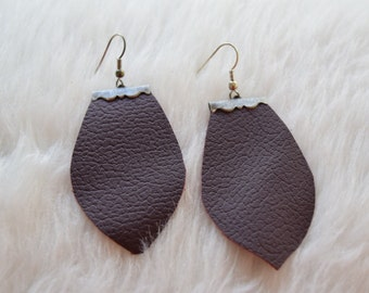 Paige Earrings in Maroon Leather and Antique Silver