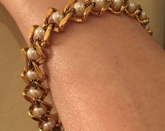 Napier Vintage 1970's Gold and Pearl Bracelet