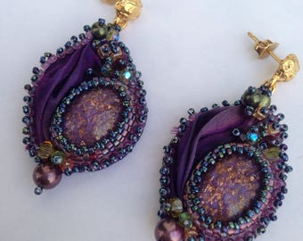Purple earrings with silk shibory