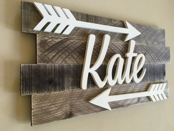 Nursery Wood Wall Decor : Nursery reclaimed wood name sign distressed