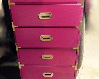 SOLD Lingerie chest hot pink campaign chest