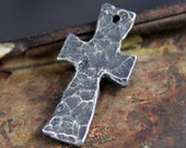 Handcrafted Hammered Cross Pendant Handmade Jewelry Supply No. 257PD