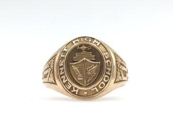 1954 10K Yellow Gold Kennett High School Class Ring