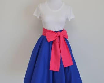 Frozen's Princess Anna of Arrendelle Inspired Deep Blue Circle/Swing Skirt and Hot Pink Sash