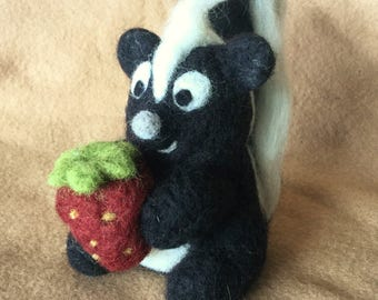 Cute Skunk with Strawberry - Needle Felted