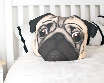 Pug Face Pillow // Illustrated dog cushion // Gift for pug owner