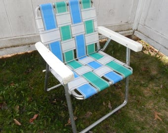 1960's Vintage Aluminum Lawn Chair - Child's Youth Size - Folding Design, Plastic Arm Rests, Original Webbing in Retro Teal Blue and Green