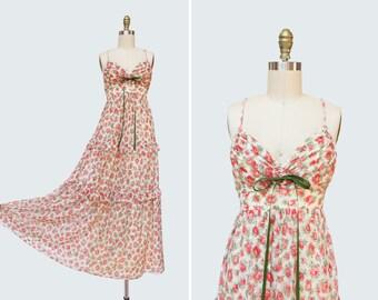 1970s Rose Colored Glasses Dress { XS } Vintage 70s Lace Floral Print Maxi
