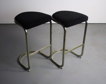 Set of 2 Cantilever Bar Stools Attributed to Milo Baughman