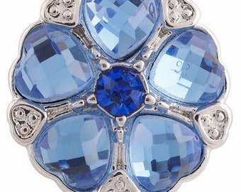 KC6200  Blue Faceted Crystal Hearts Accented With Clear Crystals