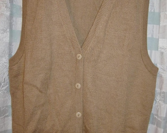 Natural Alpaca Knitted Womens Vest Size L