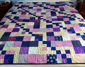 Patchwork quilt, purple and grey and blue throw or lap quilt, dorm quilt