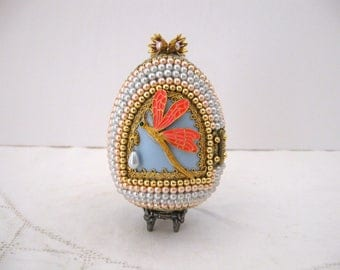 Vintage Faberge-Style Hand Decorated Goose Egg / Gift Home Decor For Cat Lover