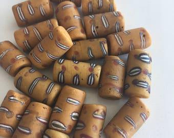 Yellow Venetian Glass Trade Beads African Wound Beads