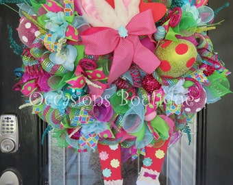 Easter Wreath, Spring Wreath, Easter Decoration, Easter Bunny, Spring Decor, Door Hanger, Wreath for Door, Large Wreath, Whimsical Wreath