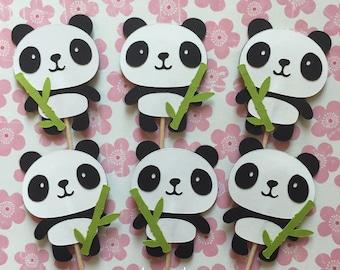 Panda & Bamboo Cupcake Toppers Set of 12 – Black and White – Panda Party - Panda Baby Shower