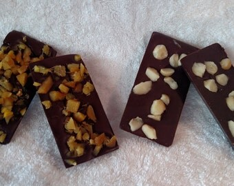Dark Chocolate Bars, Ginger and Macadamia Nut