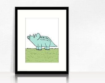 Triceratops (Teal) - Modern Dino - Instant Download - Printable Art  - 8 x 10