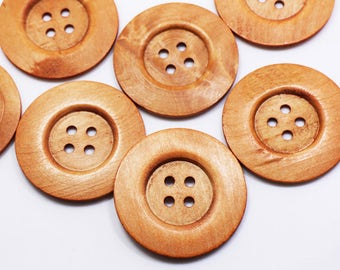 5 Extra Large Wooden Button, Coat Button, Decorative Button, Huge Four Holes Wide Edge Button, Natural Wood Button, 60mm