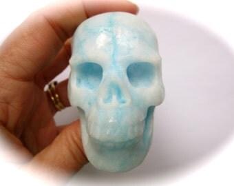 Beautiful Blue Aragonite Carved Crystal Skull 60mm 149g