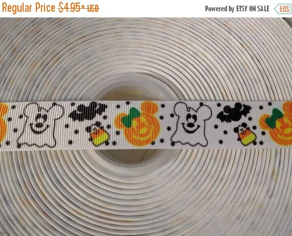 "HOT DEAL Halloween Mickey 7/8"" Grosgrain Hair Bow Craft Ribbon 782972"