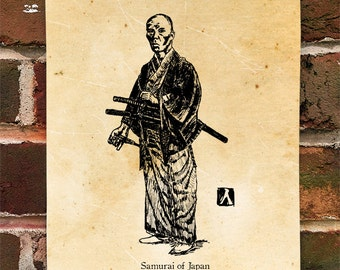"KillerBeeMoto: Limited Hand Drawn Print of ""Samurai of Japan"" Print 1 of 100"