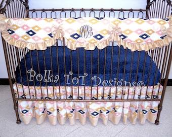 Aztec Bumperless Baby Bedding Peach, Navy & Gold