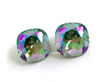 4470 PARADISE SHINE 12mm Swarovski Crystal Fancy Stone Cushion Cut, 2 pieces or 6 pieces