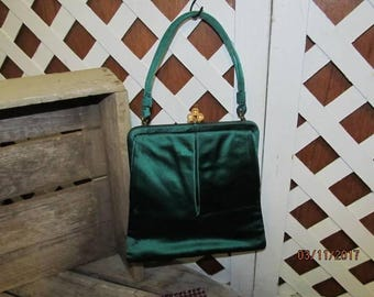 Beautiful Vintage Lewis Crown Emerald Green Evening Bag Clutch Purse with Original Mirror Satin Material