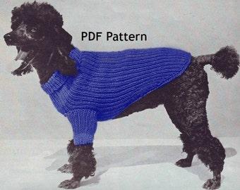 Dog Sweater Coat 3 Sizes Knit Pattern Pet Puppy Vintage PDF