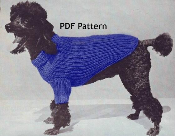 Vintage Dog Coat Knitting Pattern : Dog Sweater Coat 3 Sizes Knit Pattern Pet Puppy Vintage PDF