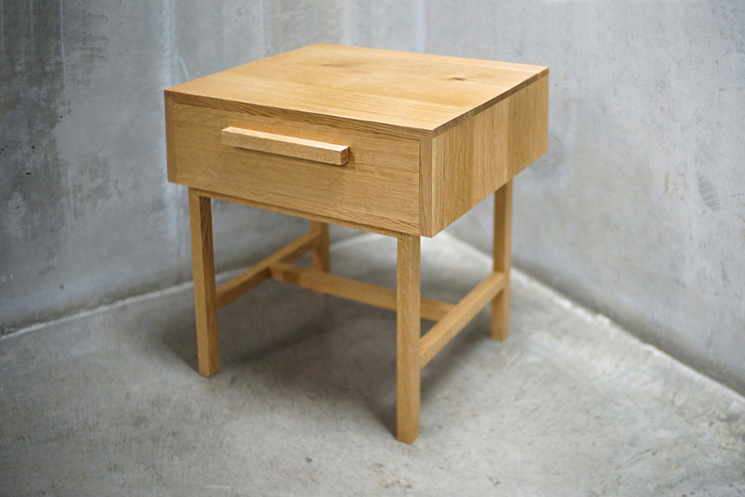 Solid White Oak Side Table/ Nightstand With Drawer
