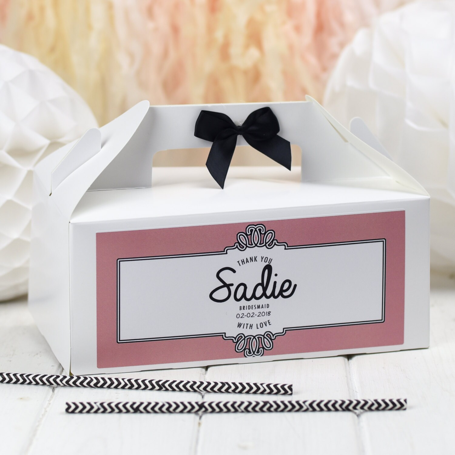 Personalised Wedding Favour Gift Box Ornate White Party