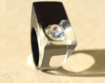Cosmic Crystal Ring, Swarovski Crystal Resin Ring, Modern Jewelry, Unique Rings, Black Ring, Sparkly Rings, Exclusively ResinHeavenUSA