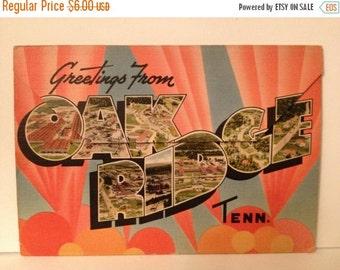 "ON SALE Oak Ridge Tennessee ""Home of the Atomic Bomb"" Vintage 1940's Linen Souvenir Postcard booklet folder"