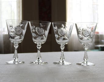 Set of Four (4 ) Cambridge Wine/Water Glasses/Goblets ~ 3700-4 ~ Mid-Century ~ MCM ~ Crystal ~ Cut Glass ~ Etched Glass ~ Rose Pattern