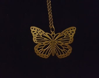 Bronze Butterfly charm necklace