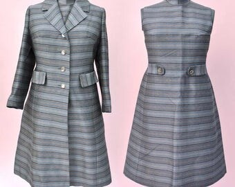 Vintage 1960s Mohair Raw Silk Shift Dress and Coat • Mother of the Bride • Bro Phil