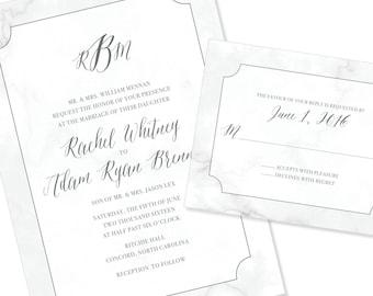 Sophisticated Marble Script Wedding Invitation | Calligraphy Wedding Invitation | DIY Option Available | Invitation | RSVP | Info Card #135