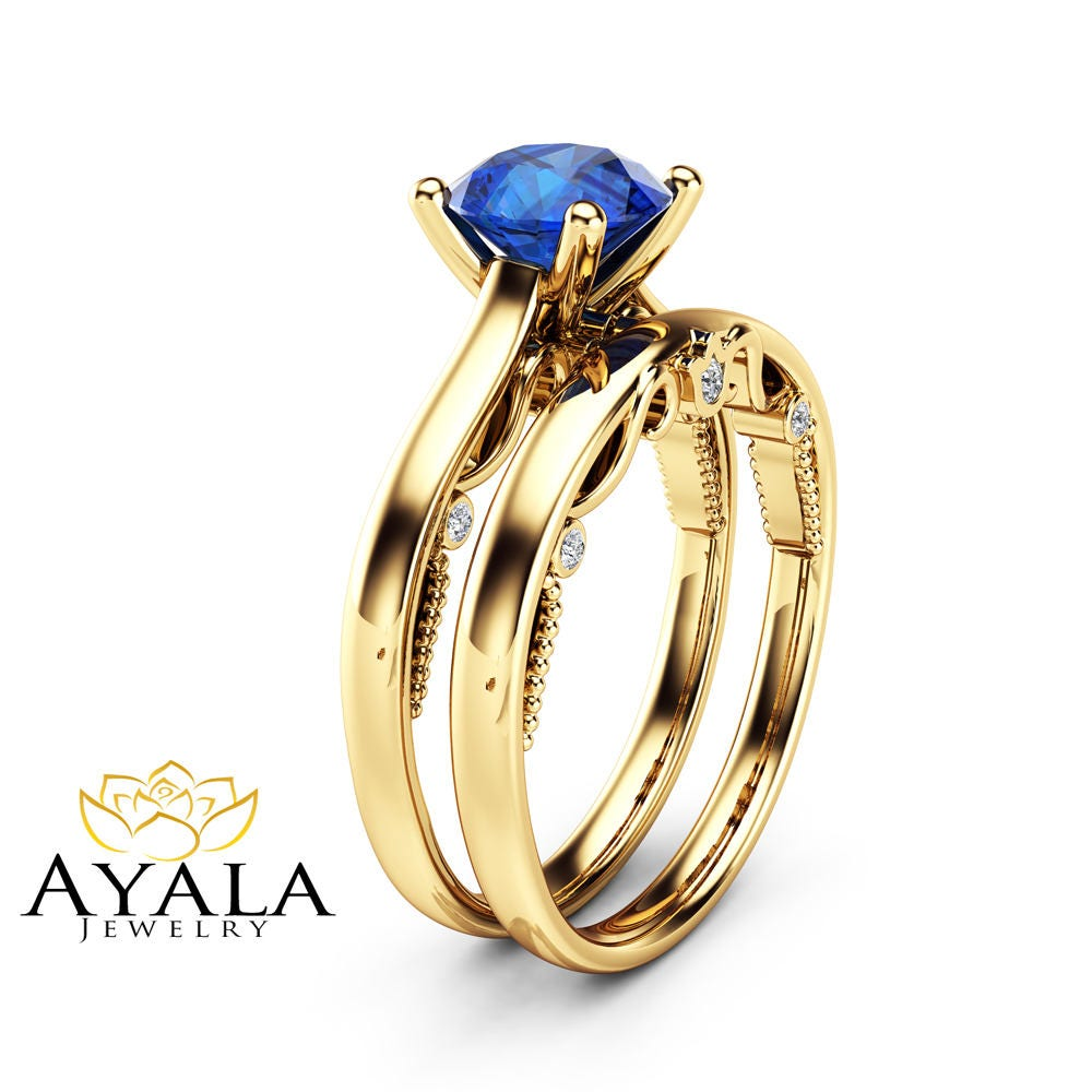 unique blue sapphire engagement ring set 14k yellow gold