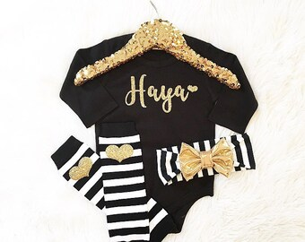 Baby girl clothes newborn coming home personalized bodysuit baby shower gift (headband separate/bodysuit only) birthday
