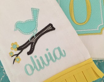 Blue Bird Personalized Burp Cloth Set, personalized baby gift