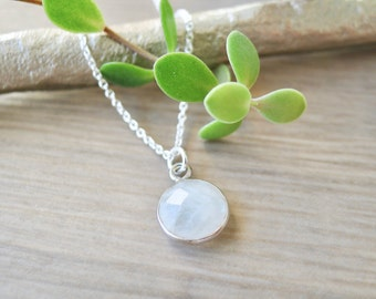 Sterling Silver Moonstone Necklace, Simple Stone Necklace, Modern Necklace, June Birthstone, June Necklace, June Jewelry