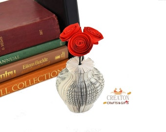 1st wedding anniversary gift - paper gift - 4th wedding anniversary gift - flower gift -  Mini Book  Vase with red roses - Mothers day gift