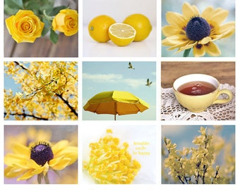 Yellow photography set 9 photo prints 8x10, yellow wall art set, nine fine art photographs discount set, yellow wall decor 9 yellow pictures
