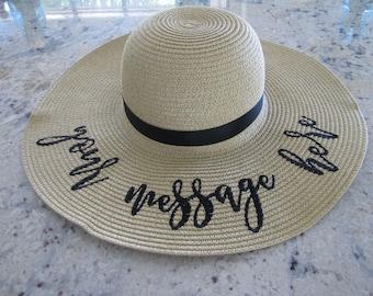 "CUSTOM ""Your Message Here"" 5 inch brim Beach Hat, Floppy Hat, Straw Hat, Ladies Sun Hat, Bachelorette Party, Shower Gift"