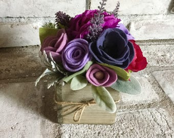 Lavender Felt Floral Arrangement in Rustic Wood Box