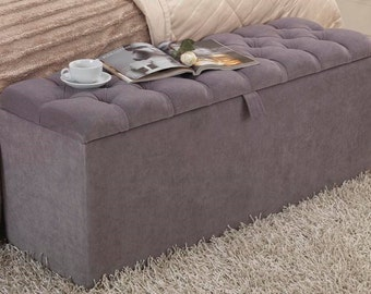 4ft Linen Downham Chesterfield Buttoned Ottoman Storage Box - Slate Grey, Charcoal, Cream, Duck Egg Blue