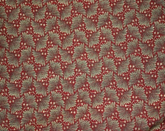 Beautiful Red Green Gold Floral Upholstery Fabric Over 1 1/2 Yards