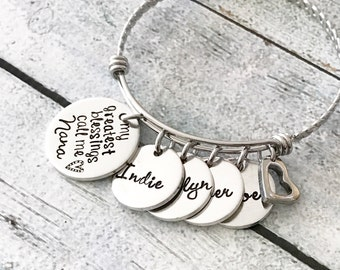 My greatest blessings - Hand stamped bracelet - Grandmother's bracelet - Grandma Nana Yia Yia jewelry - Personalized bracelet - Stainless